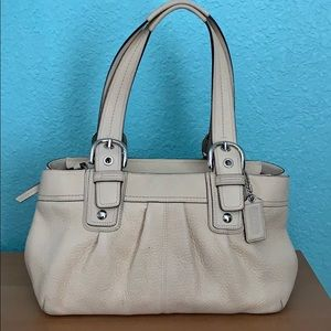 COACH pebbled leather cream shoulder bag